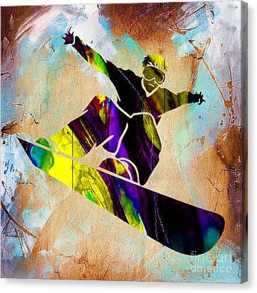 Alpine Canvas Print - Snowboarder by Marvin Blaine