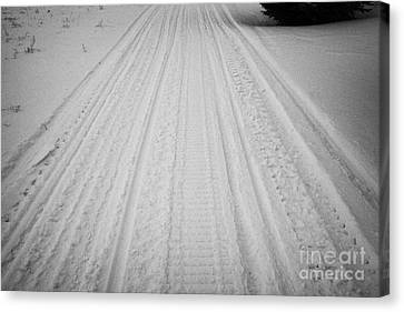 snowmobile tracks in the snow Kamsack Saskatchewan Canada Canvas Print