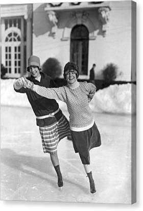 Society Ice Skating In Tuxedo, Ny Canvas Print by Underwood Archives