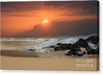 Hawaiian Rock Art Canvas Print - Song Of The Sea by Sharon Mau