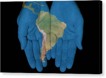 South America In Our Hands Canvas Print
