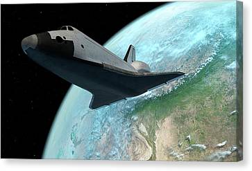 Outer Space Canvas Print - Space Shuttle Above Earth by Sciepro
