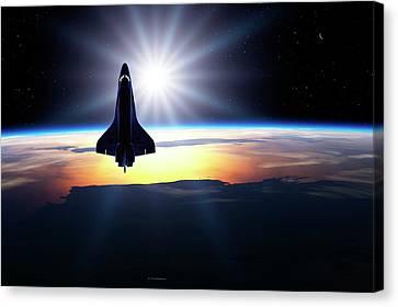Space Shuttle In Orbit Canvas Print by Detlev Van Ravenswaay