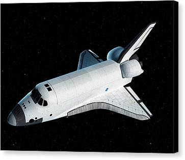 Space Shuttle In Space Canvas Print by Sciepro