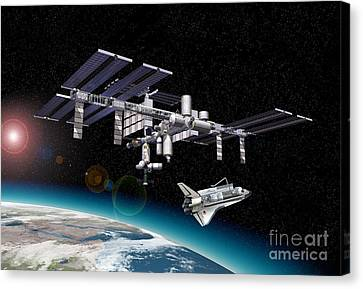 Space Station In Orbit Around Earth Canvas Print by Leonello Calvetti