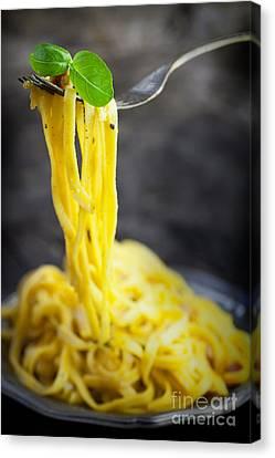Spaghetti Carbonara Canvas Print by Mythja  Photography
