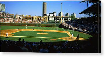 Spectators In A Stadium, Wrigley Field Canvas Print
