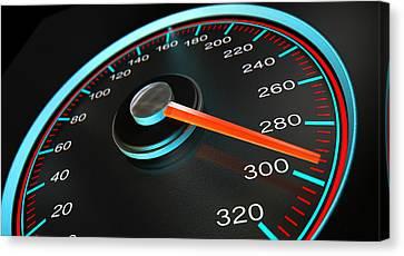 Speedometer Fast Speed Canvas Print by Allan Swart