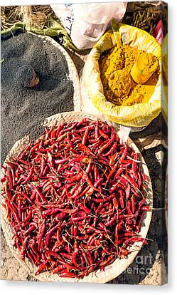 Spices At Local Market - Myanmar Canvas Print