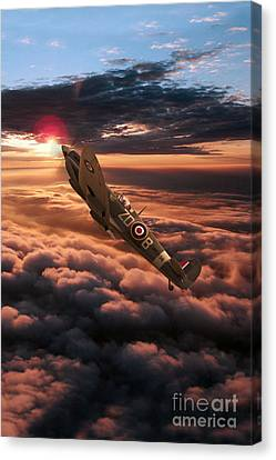 Spitfire Sundown  Canvas Print by J Biggadike