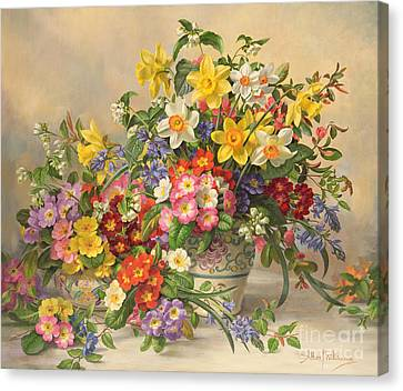 Spring Flowers And Poole Pottery Canvas Print