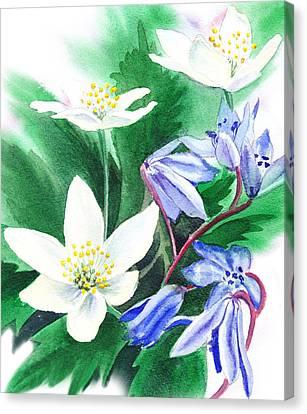 Blue Flowers Canvas Print - Spring Flowers by Irina Sztukowski