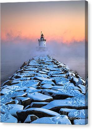 Spring Point Ledge Sea Smoke Canvas Print by Benjamin Williamson