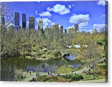 Springtime In Central Park Canvas Print by Allen Beatty