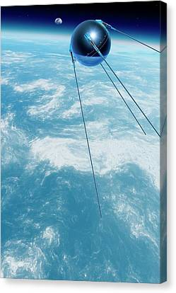 Sputnik 1 In Orbit Canvas Print by Detlev Van Ravenswaay