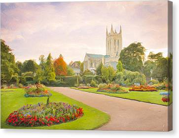 Garden Scene Canvas Print - St Edmundsbury Cathedral by Tom Gowanlock