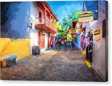 St George Street St Augustine Florida Painted Canvas Print by Rich Franco