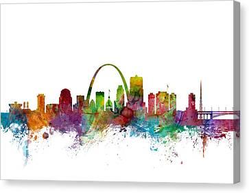 St Canvas Print - St Louis Missouri Skyline by Michael Tompsett