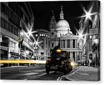 St Pauls With Black Cab Canvas Print