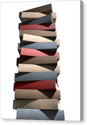 Stack Of Generic Leather Books Canvas Print