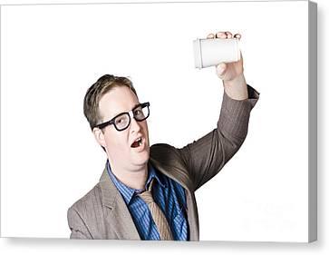 Break Fast Canvas Print - Staff Member Swigging Coffee Beverage. Quick Drink by Jorgo Photography - Wall Art Gallery