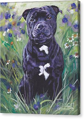 Staffordshire Bull Terrier Canvas Print - Staffordshire Bull Terrier by Lee Ann Shepard