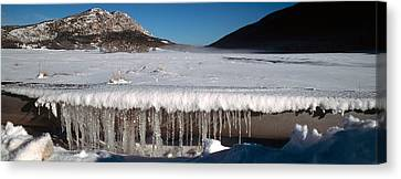 Stalactite Of Frozen Water In A Trough Canvas Print by Panoramic Images