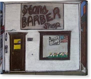 Canvas Print featuring the mixed media Stans Barber Shop Menominee by Jonathon Hansen
