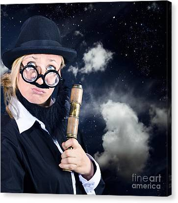 Star Gazing Astronomer With Vintage Telescope Canvas Print by Jorgo Photography - Wall Art Gallery