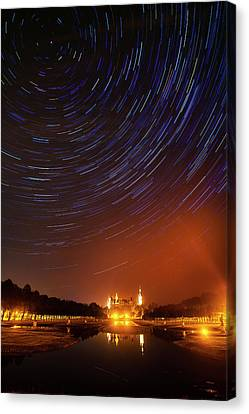 Star Trails Over Schwerin Palace Canvas Print