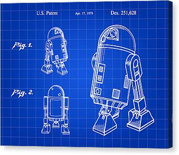 Star Wars R2-d2 Patent 1979 - Blue Canvas Print by Stephen Younts