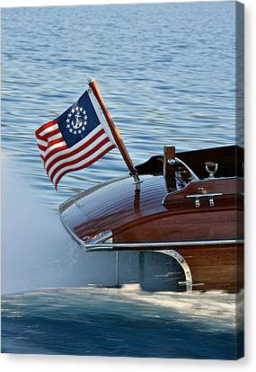 Stars And Stripes On The Water Canvas Print by Steven Lapkin