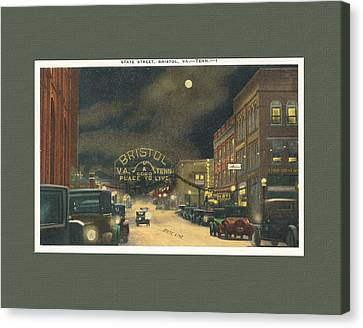 State Street Bristol Va Tn 1920's - 30's Canvas Print by Denise Beverly