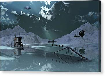 Station 211 Alien Nazi Base Located Canvas Print by Mark Stevenson
