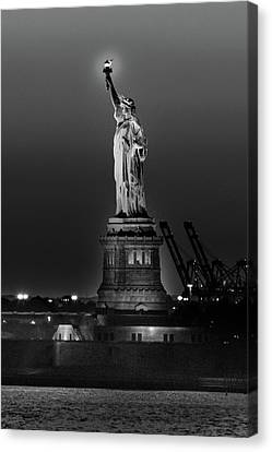 Staten Island Ferry Canvas Print - Statue Of Liberty Sunset. Nyc Harbor by Panoramic Images