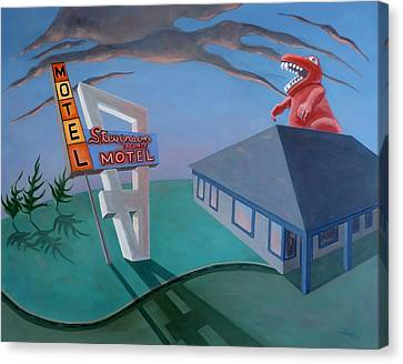 Canvas Print featuring the painting Stevenson Motel by Sally Banfill