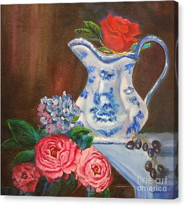 Canvas Print featuring the painting Still Life With Blue And White Pitcher by Jenny Lee