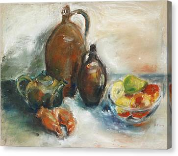 Still Life With Earthen Jugs Canvas Print by Barbara Pommerenke