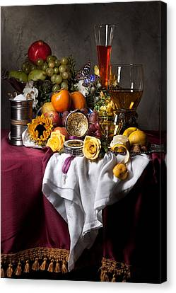 Still Life With Fruits And Drinking Vessels Canvas Print by Levin Rodriguez