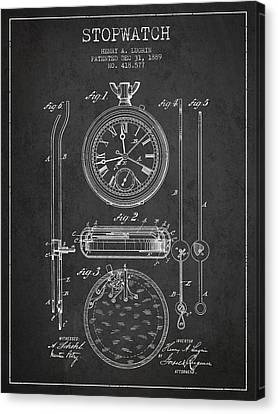 Stopwatch Patent Drawing From 1889 Canvas Print