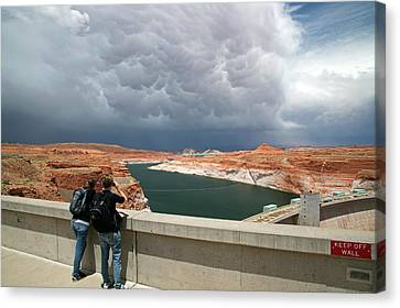 Storm Clouds Over Glen Canyon Dam Canvas Print by Jim West