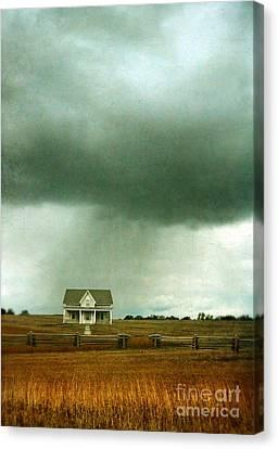 Storm Over Farmhouse Canvas Print by Jill Battaglia