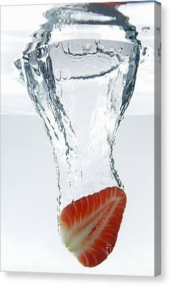 Strawberry Fruit Splashing Underwater Canvas Print by Sami Sarkis