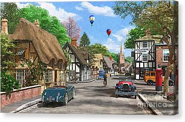 Street Cottage Lane Canvas Print by Dominic Davison
