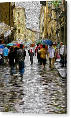 Streets Of Florence Canvas Print by Greg Sharpe