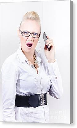 Stressed Employee Communicating In Workplace Canvas Print by Jorgo Photography - Wall Art Gallery