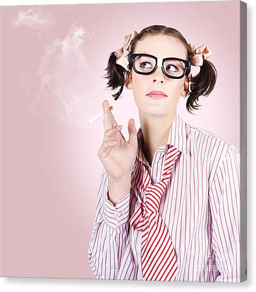 Stressed Geeky Office Worker On Smoke Break Canvas Print