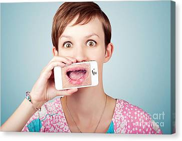 Stressed Woman With Smashed Smartphone Screen Canvas Print by Jorgo Photography - Wall Art Gallery