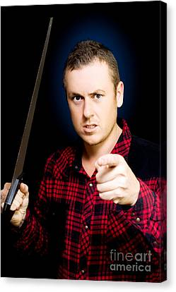Stressed Workman Pointing The Finger At You Canvas Print by Jorgo Photography - Wall Art Gallery