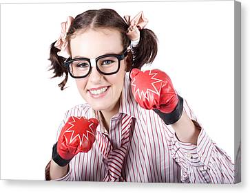 Strong Driven Business Woman Wearing Boxing Gloves Canvas Print by Jorgo Photography - Wall Art Gallery